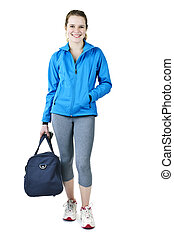 Athletic girl with gym bag ready for workout - Smiling fit...