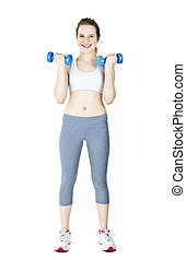 Happy active girl holding weights - Happy fit young woman...