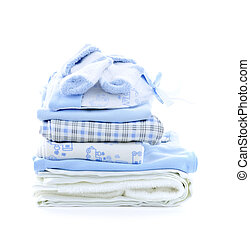 Baby boy clothes - Stack of blue infant clothing for baby...
