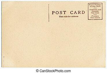 vykort, bak, gammal