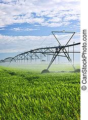 irrigação, equipamento, fazenda, campo