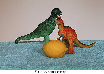 Tyrannosaurus Rex  and Allosaurus both fancy the same lemon