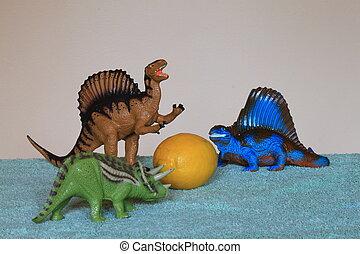 dinosaurios, eyeing, Arriba, limón