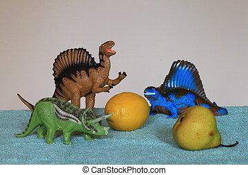 dinosaurios, prefer, limón, pera