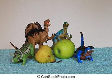 dinosaurios, manzana, pera