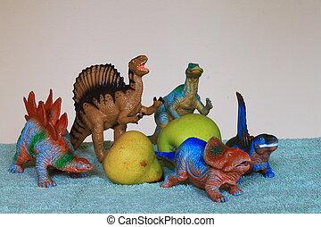 Dinosaurs with fruit - Spinosaurus, Edmontosaurus,...