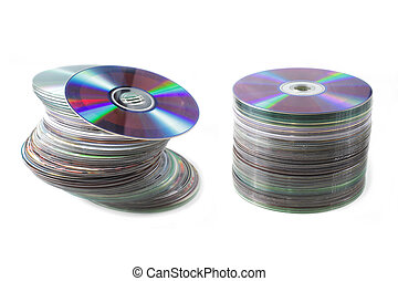 A pile of dvd discs isolated on white