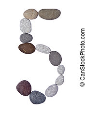 pebble 5 isolated on white - collection of letters of sea...