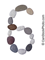 pebble 6 isolated on white - collection of letters of sea...