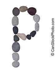 pebble P isolated on white - collection of letters of sea...