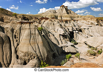 Badlands in Alberta, Canada - View of the Badlands and...