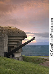 Bunker on the coastline, Gold Beach - Old german bunker in...