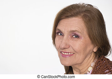 beautiful elderly woman in brown clothes on white background...