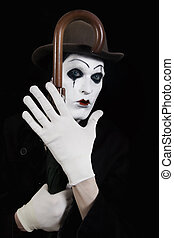 mime holding a walking-stick in his hand - Portrait of a...