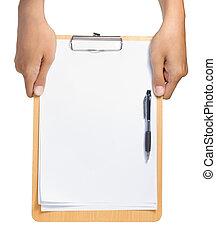 área de transferência, em branco, papel, caneta