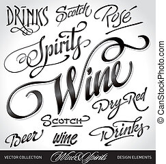beverage headlines set vector - beverage headlines set, hand...