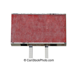 Red Grunge Blank Sign Isolated