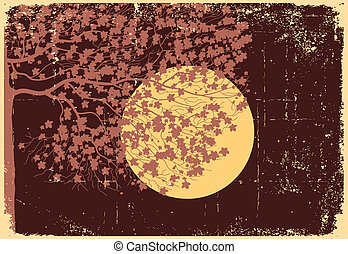 Tree in moon night with bright stars.Vector vintage...
