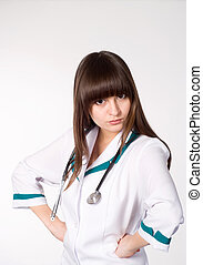 beautiful nurse standing on white background
