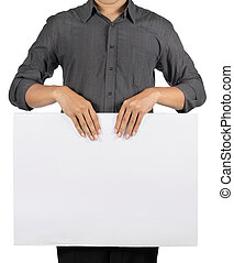 man holding an ad blank white board