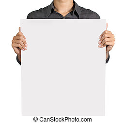 man holding a blank white board. isolated over white...