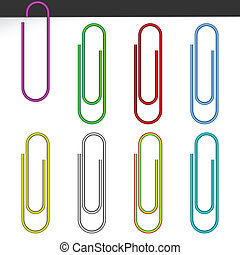 Colored paper clips. - Set of color paper clips on a white...