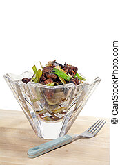 Chinese dish in crystal bowl - Chinese dish with beef and...