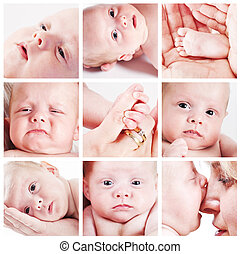 baby face collage - collage of baby faces, foot, and little...