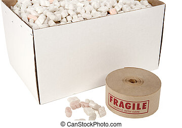 box of packin peanuts with roll of fragile tape beside it