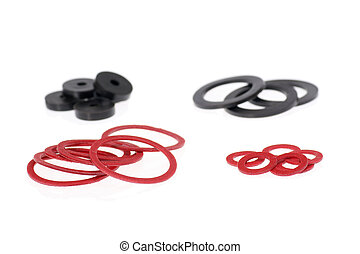 Isolated gaskets - Set of gaskets isolated on white...