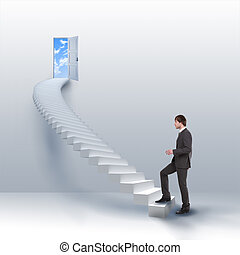 young man climbs the ladder of success and a virtual career....