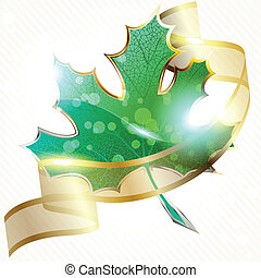 Shiny leaf with transparent banner - Background a large...
