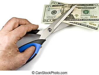 Devaluating the dollar - Metaphor of scissors devaluating in...