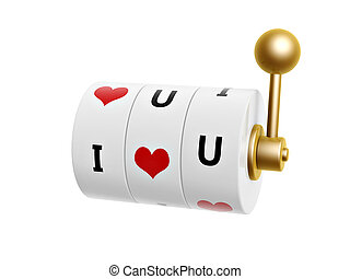 slot machine with red heart sign