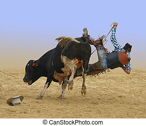 Cowboy Falling of a Bull isolated with clipping path