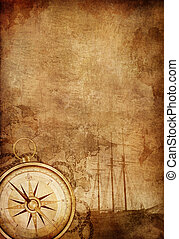 Compass - Old Paper Texture with Retro Styled Compass, Ship...