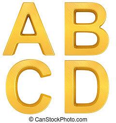 Golden Letters a, b, c, d