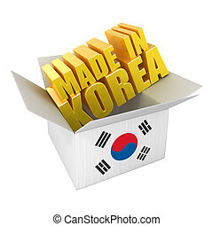 Made in Korea 3d concept illustration isolated on white