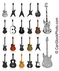 Guitar icon2 - Set of icons of guitars. A vector...