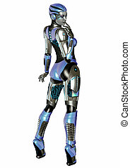 FemBot Pin-Up 2 - Sexy FemBot Isolated on White background