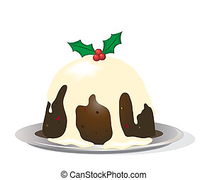 Christmas pudding on white - A Christmas pudding with brandy...