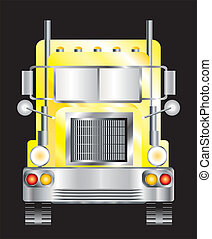 Yellow lorry - A vector illustration of the front view of a...