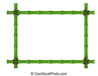 bamboo frame - 3d shiny bamboo frame on white background