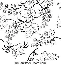 Black-and-white seamless with abstract currants Vector...