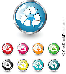 Recycle icons, vector set