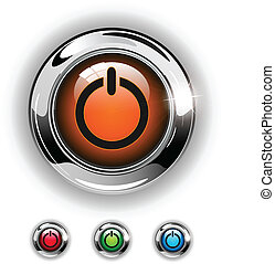 Start icon, button, glossy metallic shining chrome.