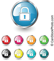 Security icons vector set - Security icon, button,...