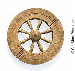 old spinning wheel - old grunge spinning wheel on white...