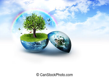 environment - tree on earth against a background of bright...