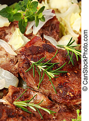 Roasted pork meat with vegetable